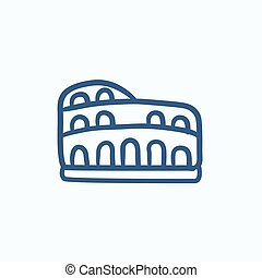 Coliseum sketch icon - Coliseum vector sketch icon isolated...