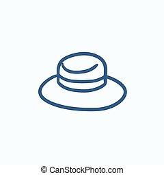 Summer hat sketch icon. - Summer hat vector sketch icon...