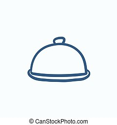 Restaurant cloche sketch icon - Restaurant cloche vector...