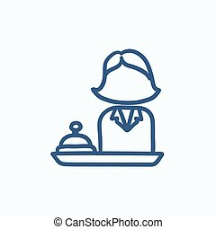 Female receptionist sketch icon - Female receptionist vector...