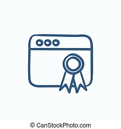 Browser window with winners rosette sketch icon - Browser...