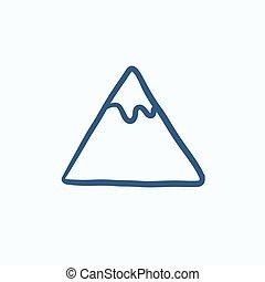 montagna, schizzo, icona