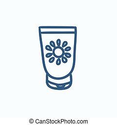 Sunscreen sketch icon - Sunscreen vector sketch icon...