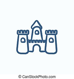 Sandcastle sketch icon - Sandcastle vector sketch icon...