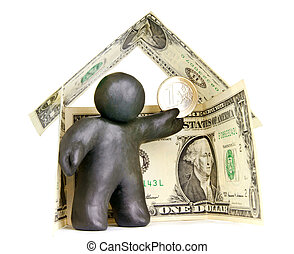 Plasticine man in the house of banknotes
