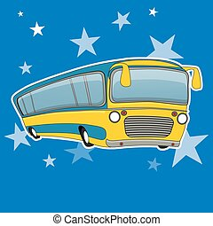City bus icon cartoon style. Yellow bus transport vector illustration.