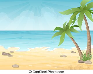 tropical beach with palms tree
