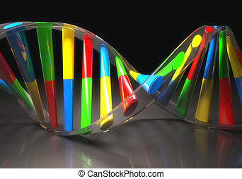 Colored DNA Molecule - 3D illustration, colorful dna,...