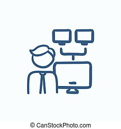 Network administrator sketch icon - Network administrator...