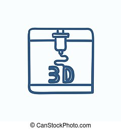 Tree D printing sketch icon. - Tree D printing vector sketch...