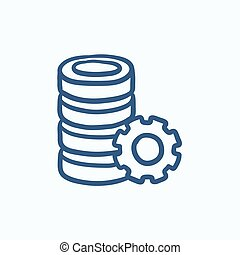 Server with gear sketch icon - Server with gear vector...