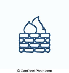 Firewall sketch icon - Firewall vector sketch icon isolated...