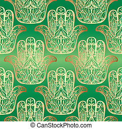 Seamless pattern with magic Hand. - Green seamless pattern...