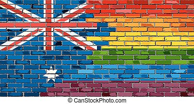 Brick Wall Australia and Gay flags - Illustration,...