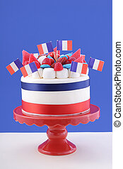 Happy Bastille Day celebration cake with flags, marshmallow...