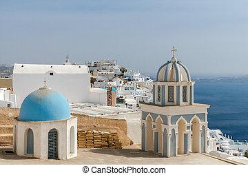 Fira Greek church - Traditional small white church in Fira...