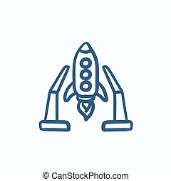 Space shuttle on take-off area sketch icon - Space shuttle...