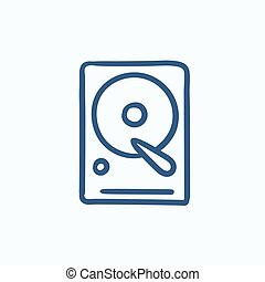 Hard disk sketch icon - Hard disk vector sketch icon...