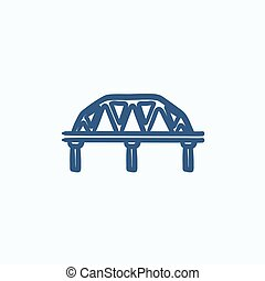 Rail way bridge sketch icon - Rail way bridge vector sketch...