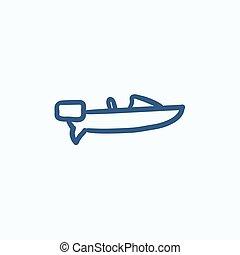 Motorboat sketch icon. - Motorboat vector sketch icon...
