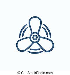 Boat propeller sketch icon. - Boat propeller vector sketch...