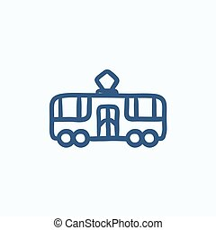 Tram sketch icon - Tram vector sketch icon isolated on...