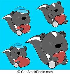 sweet lovely baby skunk cartoon set in vector format
