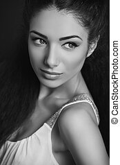 Attractive woman portrait - Portrait of attractive brunette...