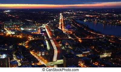 Aerial timelapse view of the Boston Skyline at dusk - An...