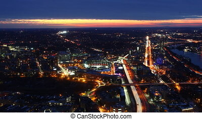Aerial timelapse view of the Boston Skyline at sunset - An...