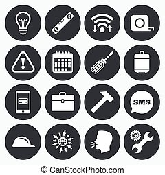 Repair, construction icons Engineering signs - Wifi,...