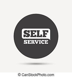 Self service sign icon Maintenance button Gray circle button...