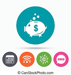 Piggy bank sign icon. Moneybox symbol. - Wifi, Sms and...