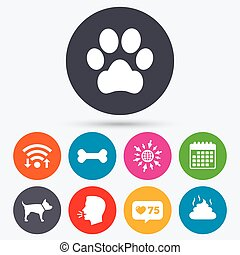 Pets icons. Dog paw and feces signs. - Wifi, like counter...