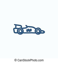 Race car sketch icon. - Race car vector sketch icon isolated...
