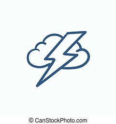 Cloud and lightning bolt sketch icon - Cloud and lightning...