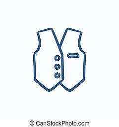 Waistcoat sketch icon - Waistcoat vector sketch icon...