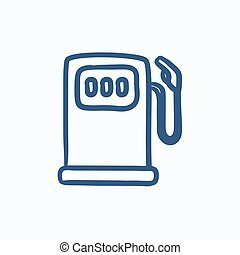 Gas station sketch icon - Gas station vector sketch icon...