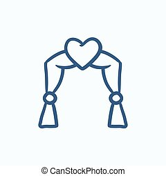 Wedding arch sketch icon - Wedding arch vector sketch icon...