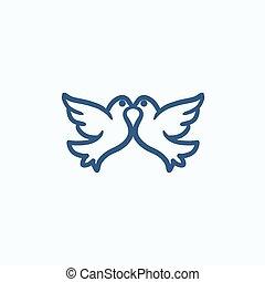 Wedding doves sketch icon.