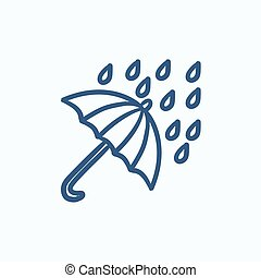 Rain and umbrella sketch icon. - Rain and umbrella vector...