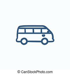 Minibus sketch icon - Minibus vector sketch icon isolated on...