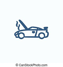 Broken car with open hood sketch icon. - Broken car with...