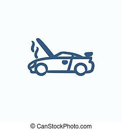 Broken car with open hood sketch icon. - Broken car with...