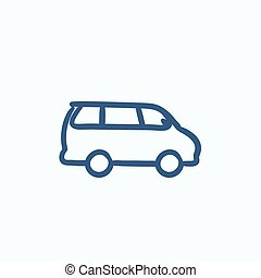 Minivan sketch icon - Minivan vector sketch icon isolated on...