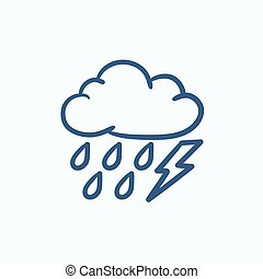 Cloud with rain and lightning bolt sketch icon.