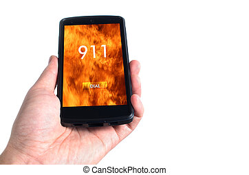 Dialing 911 concept on mobile phone isolated on white...