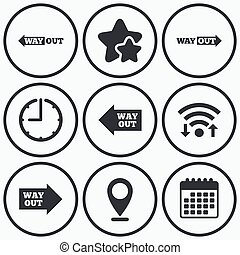 Way out icons Left and right arrows symbols - Clock, wifi...