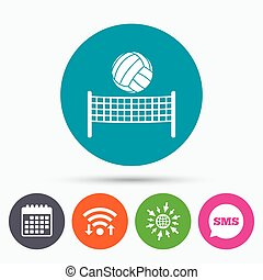 Volleyball net ball icon. Beach sport symbol - Wifi, Sms and...