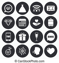 Wedding, engagement icons Love oath letter - Wifi, calendar...